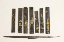 7 Japanese bronze sword decoration, and a small dagger