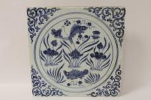 Chinese blue and white tile