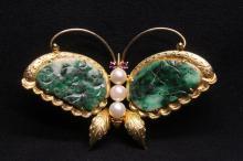 Beautiful 14K Y/G jadeite cultured pearl brooch