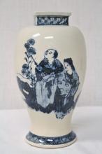 Japanese antique b&w porcelain vase, Kinkozan mark