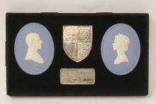 British memorabilia sterling plaque with cameo plaques