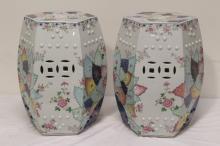 Pair rare Chinese export porcelain garden stools