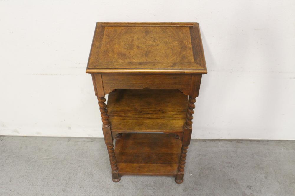 Lot 69: A burl walnut top 3-tier shelf stand w/ barley twist legs