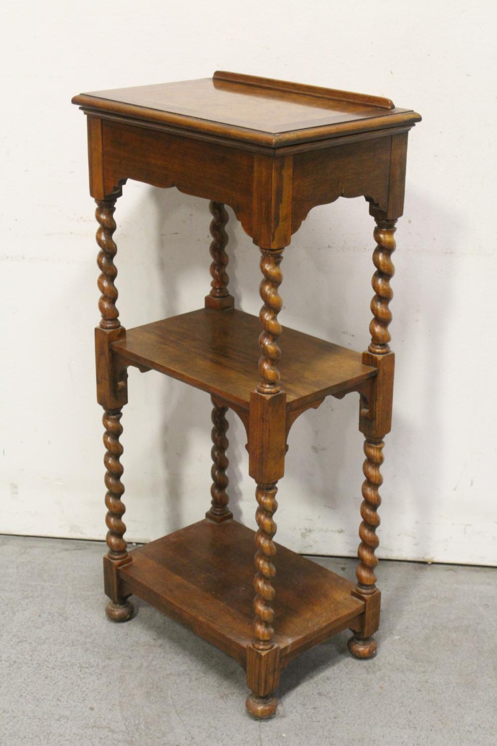 A burl walnut top 3-tier shelf stand w/ barley twist legs