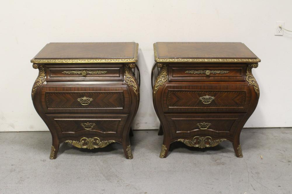 Pair mahogany inlaid side chest with metal ormolu