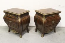 Lot 76: Pair mahogany inlaid side chest with metal ormolu