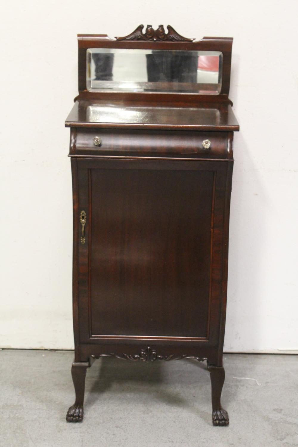 Mahogany musical cabinet w/ beveled mirror top