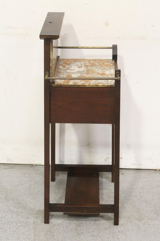 Lot 82: English inlaid mahogany & marble washstand/humidor