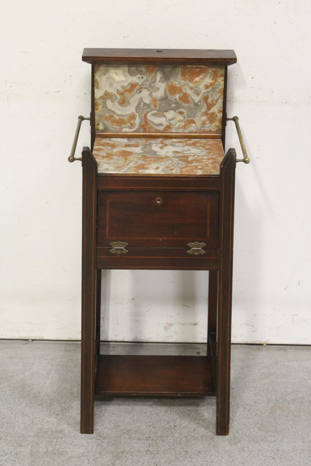 English inlaid mahogany & marble washstand/humidor