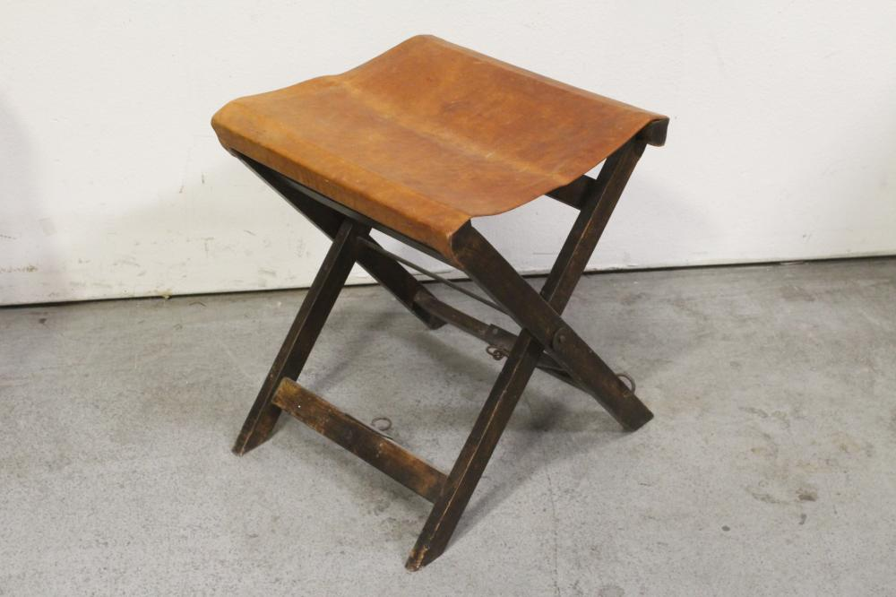 Lot 86: French walnut armchair & a Victorian folding stool