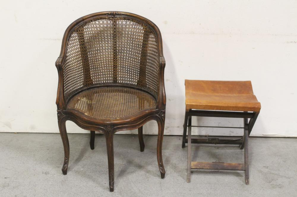 French walnut armchair & a Victorian folding stool