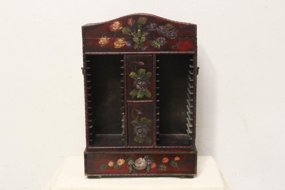 A fine painted wood miniature storage shelf