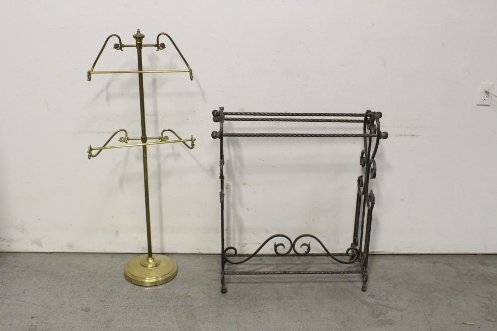 A cast iron towel rack, and a brass cloth hanger