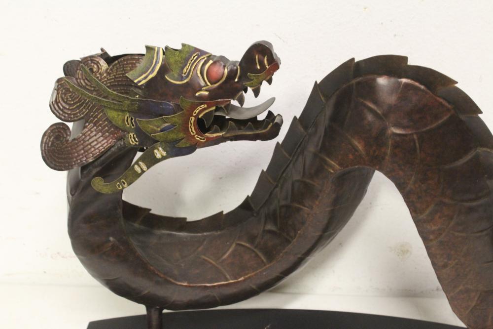 Lot 92: A large copper sculpture of dragon