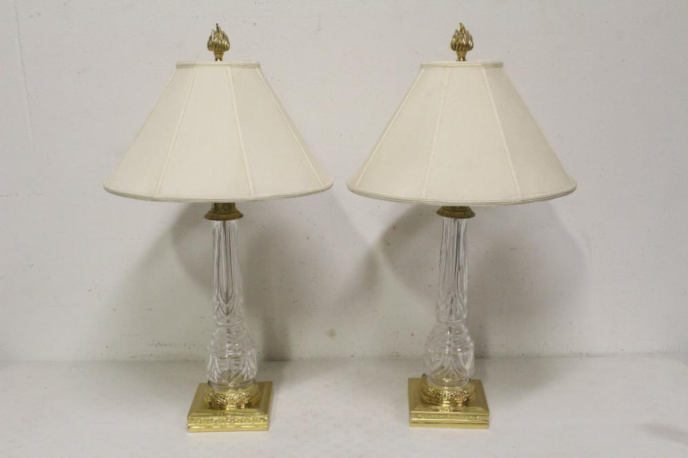 Pair fine crystal table lamps