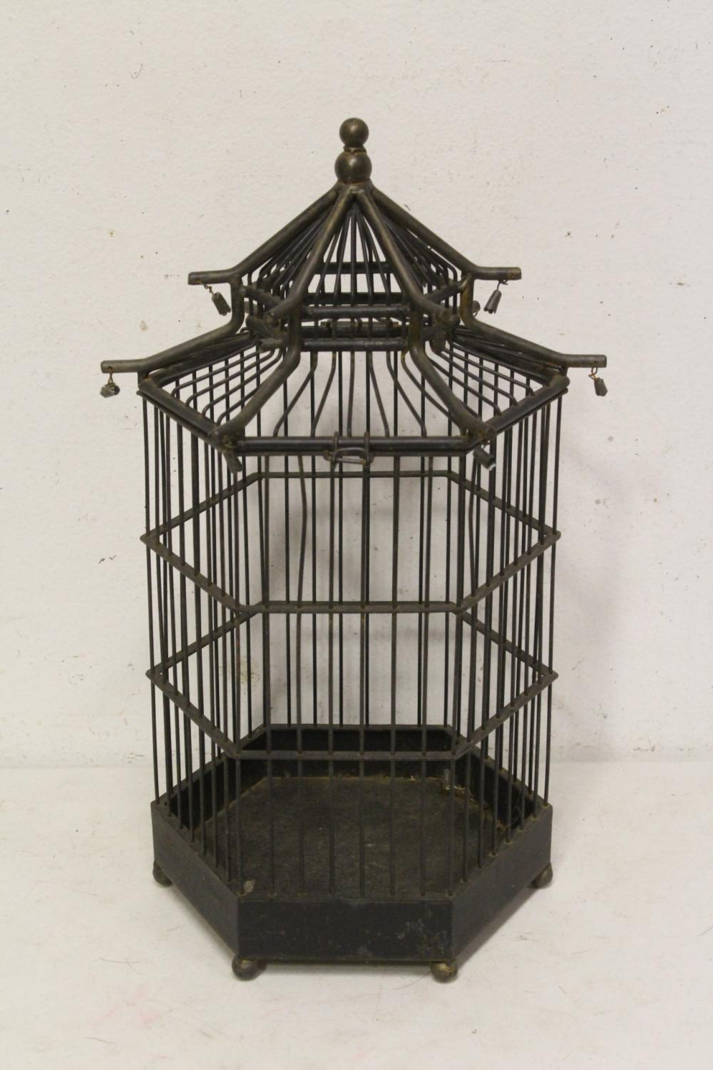 Lot 93: 2 cast iron bird cages