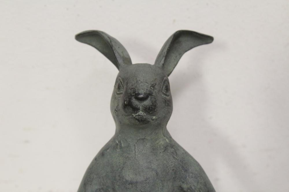Lot 95: 2 metal sculpture of rabbit