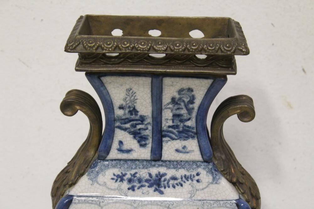 Lot 101: Chinese b&w porcelain vase with bronze ormolu