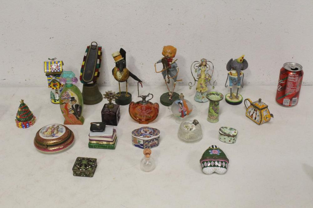 Lot of scent bottles, enamel boxes, & wood carvings