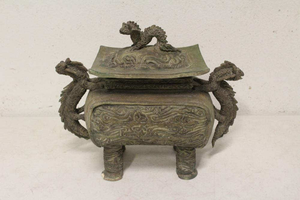 A Chinese pottery covered censer