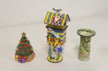 Lot 104: Lot of scent bottles, enamel boxes, & wood carvings