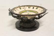 Lot 110: Porcelain plate w/ bronze holder & a bronze sculpture