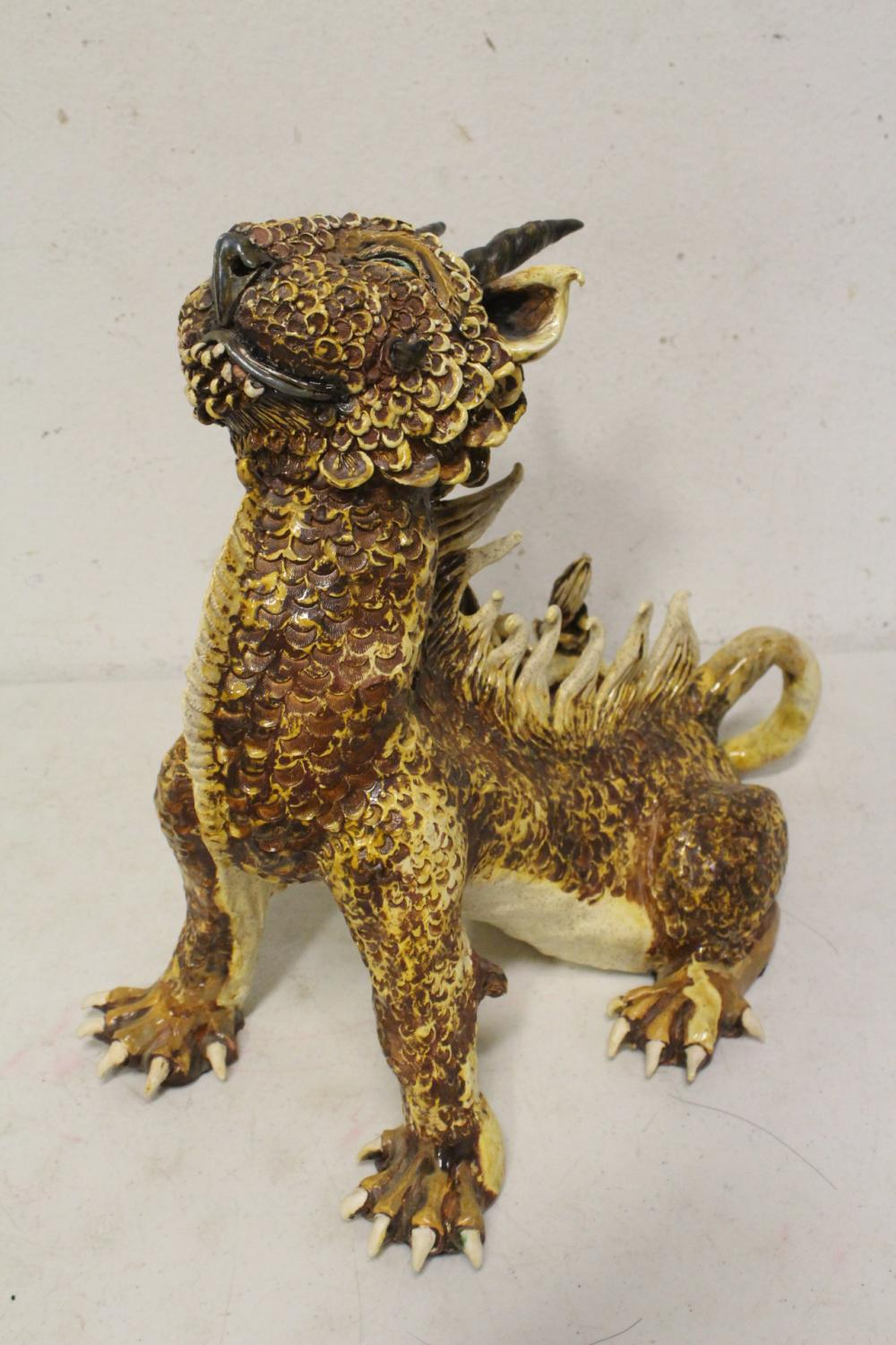 Unusual pottery sculpture of qilin