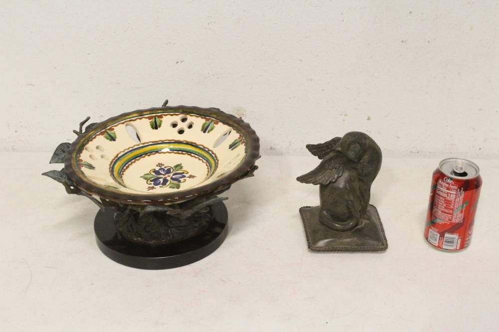 Porcelain plate w/ bronze holder & a bronze sculpture