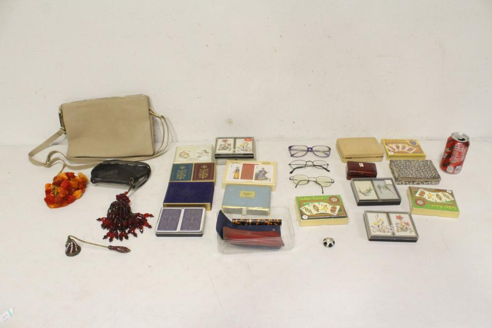 Lot of playing cards, glasses