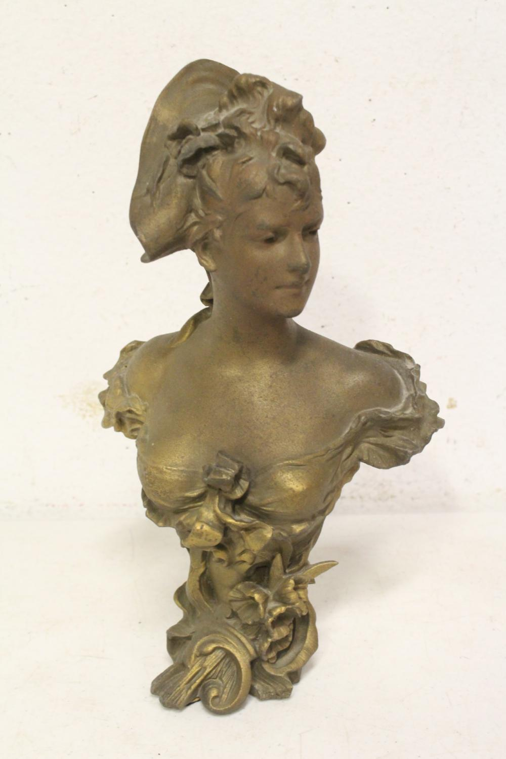 Antique gilt spelter sculpture of lady's bust