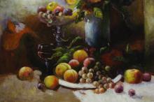 "Lot 180: Large oil on canvas ""still life"""