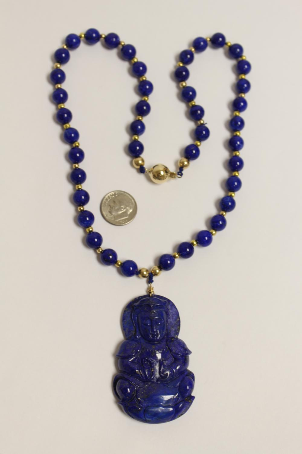 Chinese lapis pendant w/ lapis & gold bead necklace