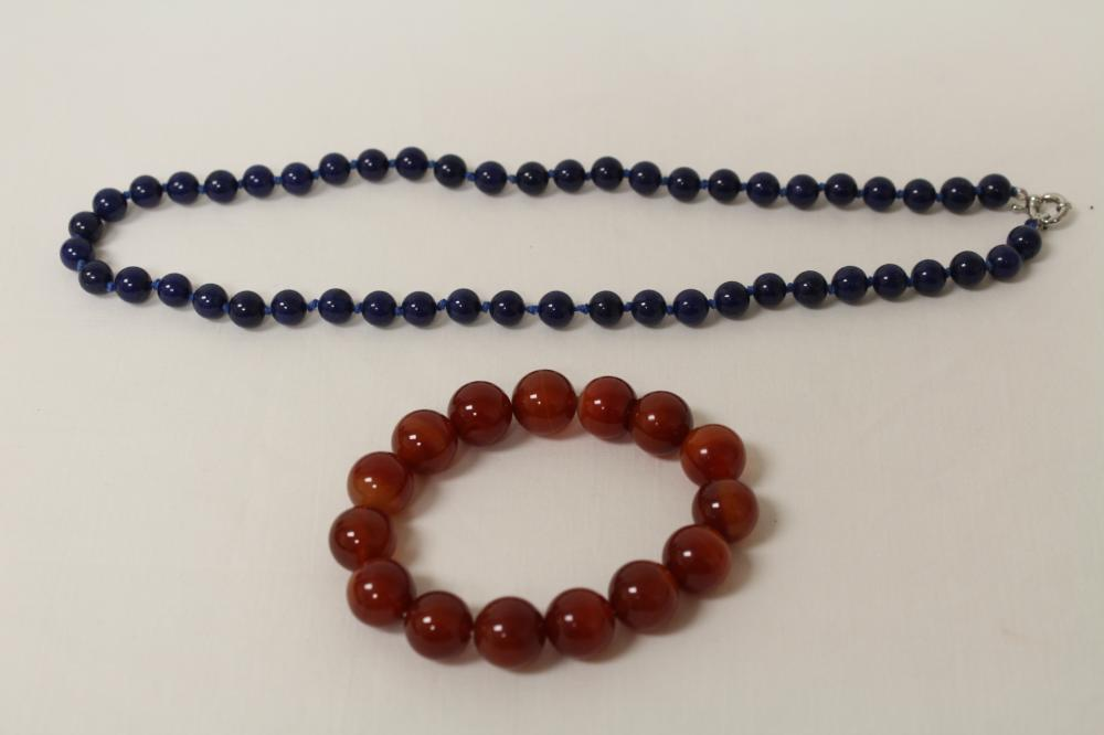 Agate like bead bracelet, and lapis like bead necklace