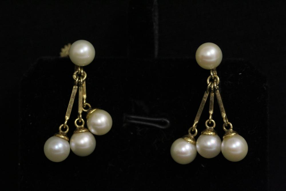 Pair 14K Y/G cultured pearl earrings