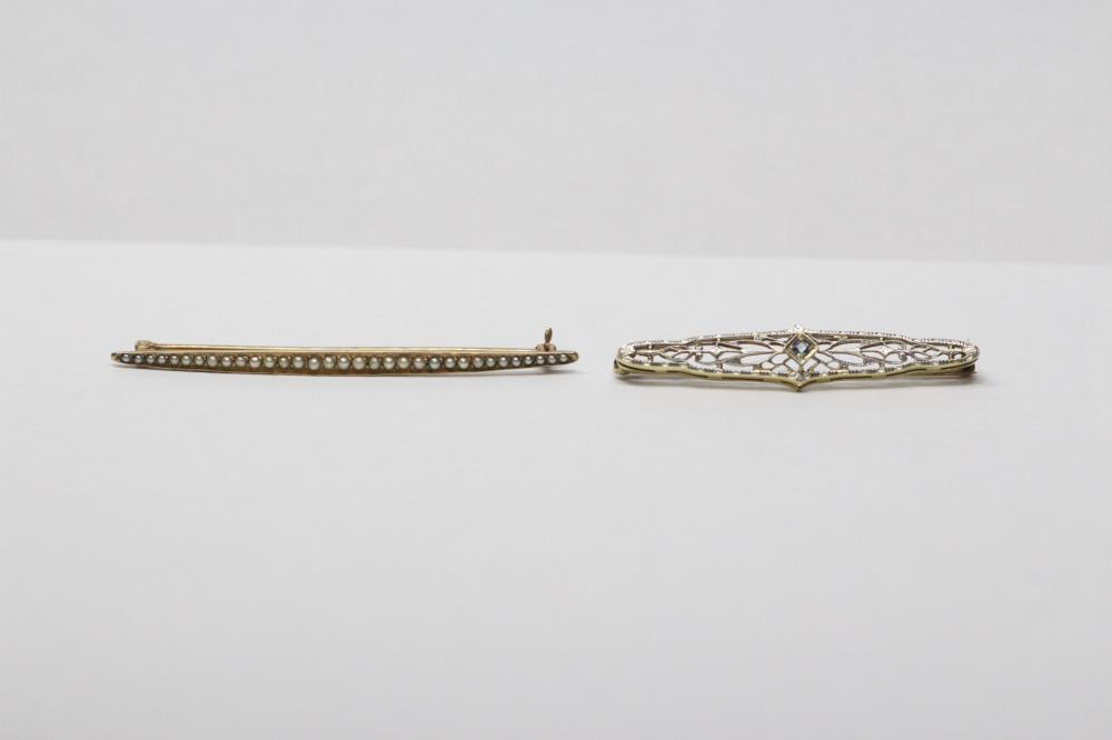 2 gold Victorian bar pins