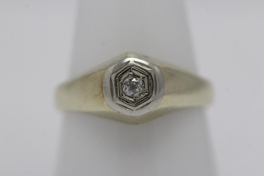 14K deco Y/G diamond ring