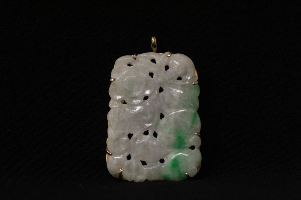 Chinese 14K Y/G framed jadeite pendant/brooch