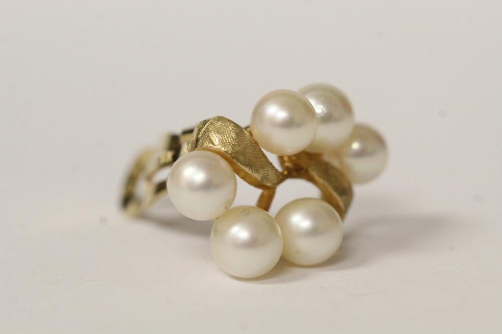 Lot 208: Pair 14K cultured pearl earrings