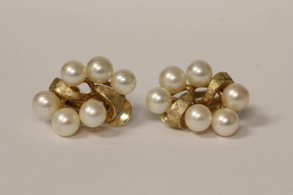 Pair 14K cultured pearl earrings