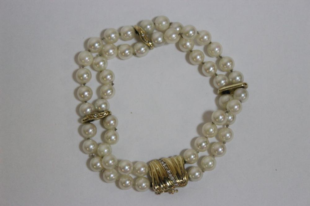 14K Y/G cultured pearl bracelet w/ 14K spacer & clasp