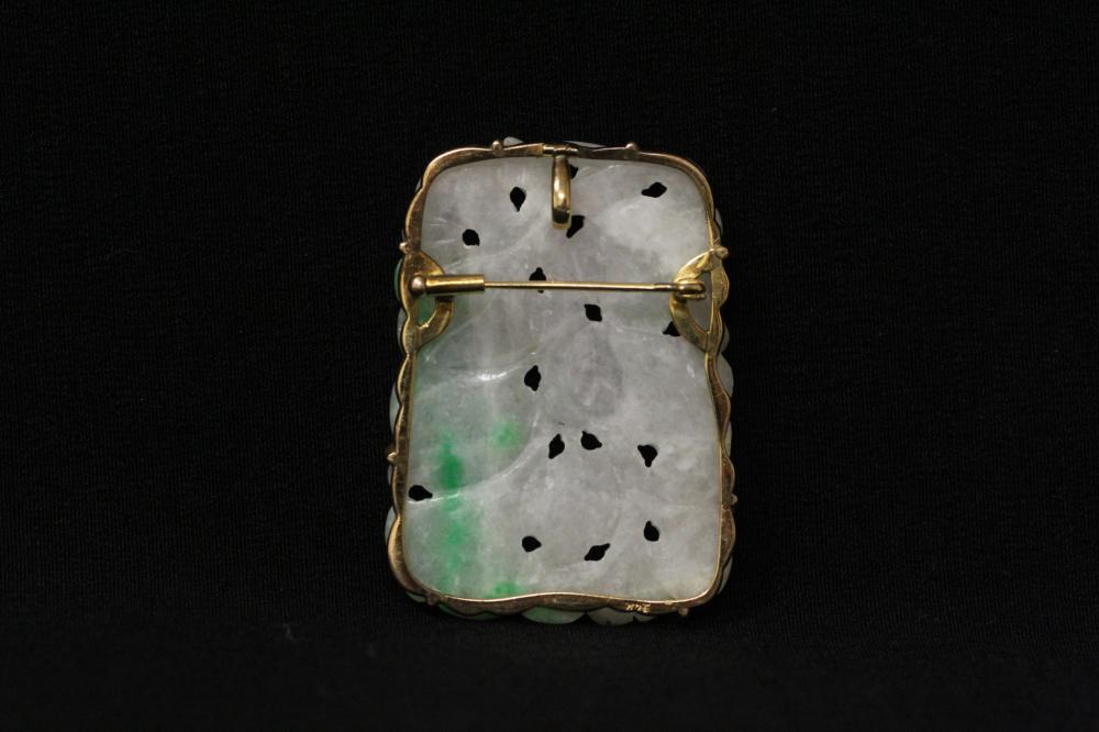 Lot 206: Chinese 14K Y/G framed jadeite pendant/brooch