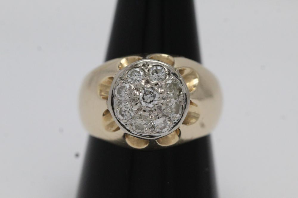 14K Y/G cluster diamond ring