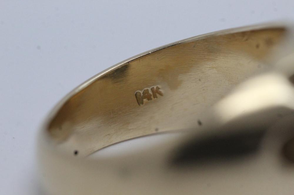 Lot 210: 14K Y/G cluster diamond ring