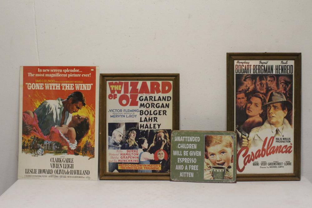 3 vintage movie posters, and a advertisement panel