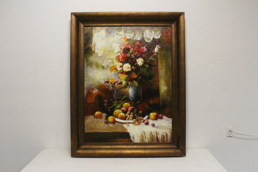 "Large oil on canvas ""still life"""