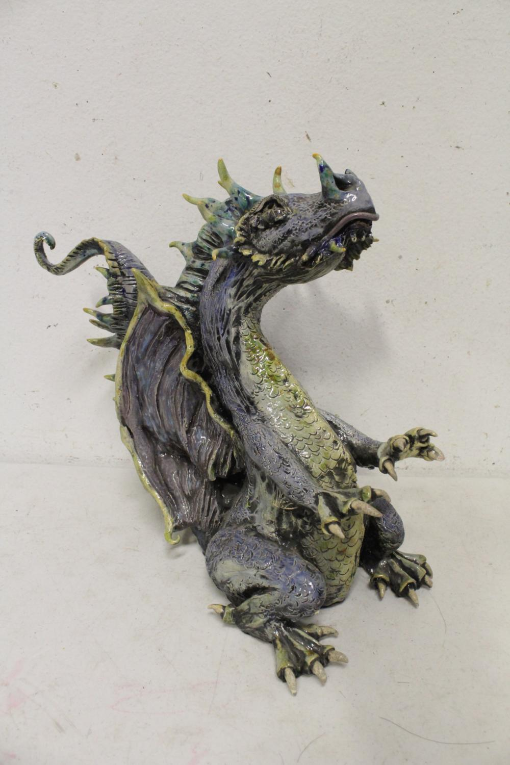 Large pottery sculpture of dragon