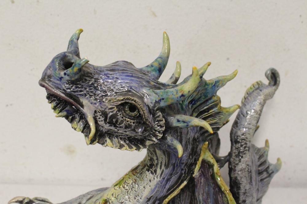 Lot 99: Large pottery sculpture of dragon