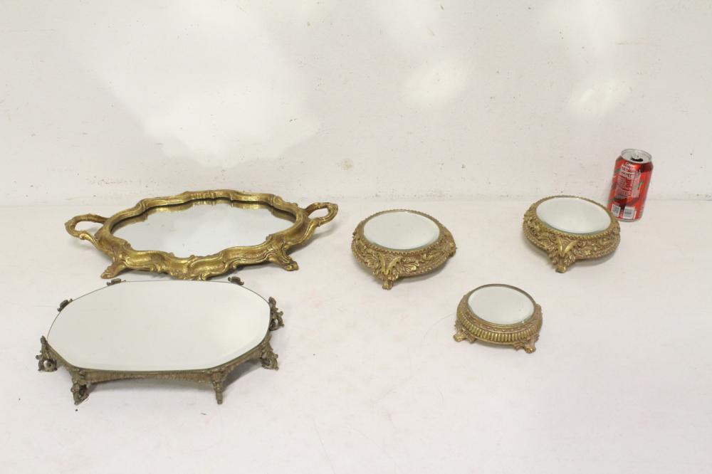 Lot 124: 5 mirror pedestals/perfume trays