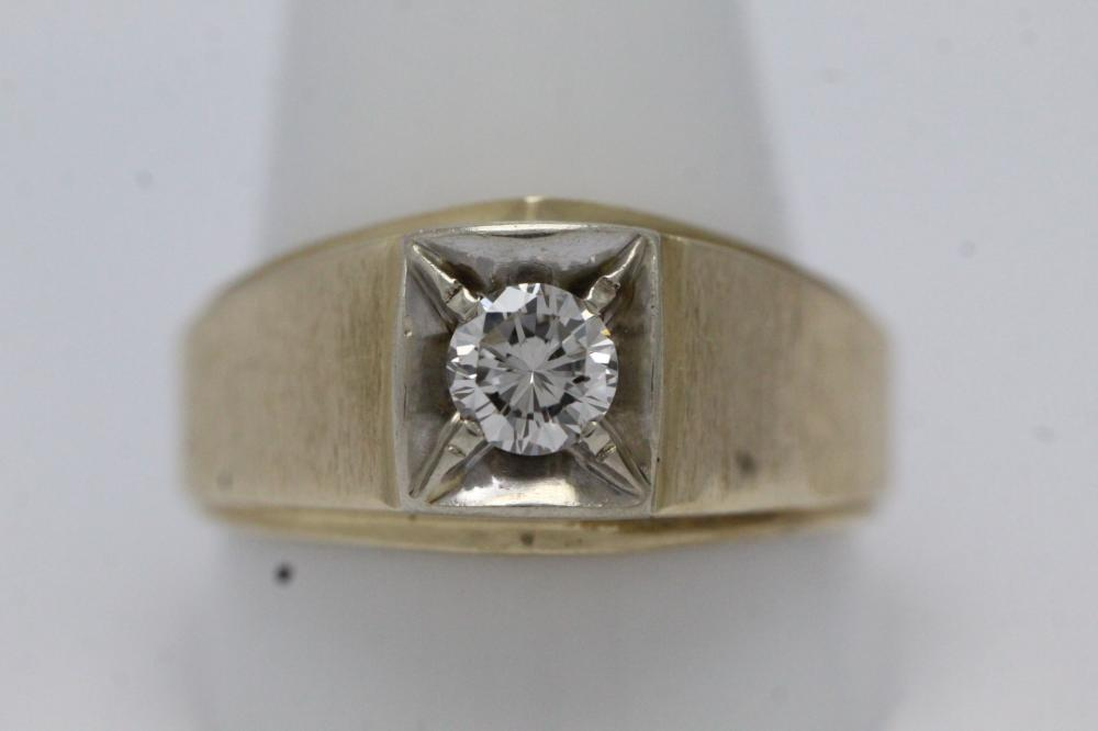 14K Y/G gentleman's diamond ring