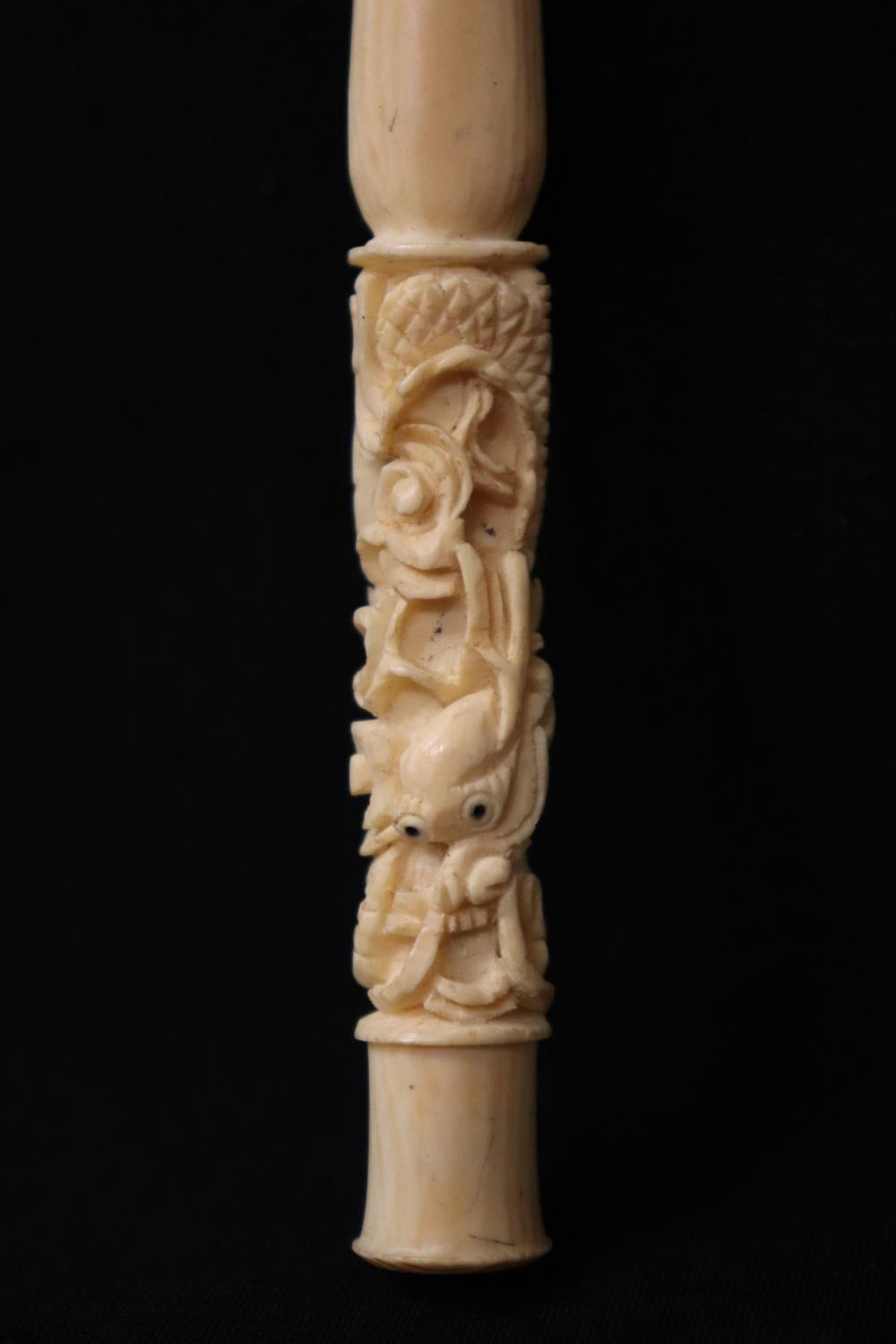 Lot 120: 4 Chinese bone carved cigarette holders